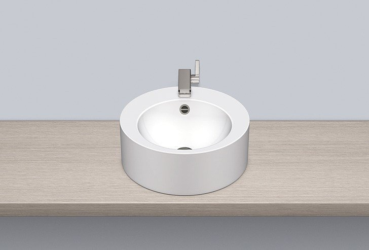 Sit-on basin from glazed steel AB.K450H.2 by Alape