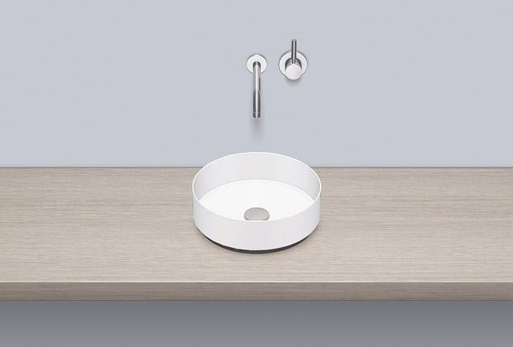 Sit-on basin from glazed steel AB.KE325 by Alape