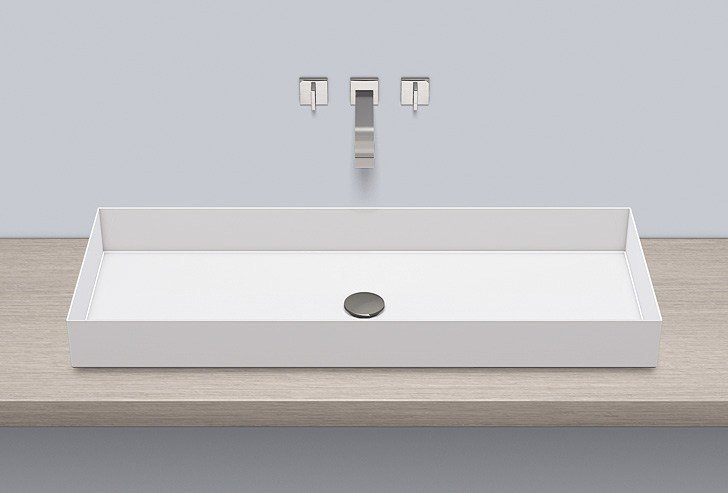 Sit-on basin from glazed steel AB.ME1000 by Alape