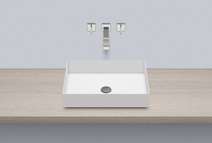 Sit-on basin from glazed steel AB.ME500 by Alape