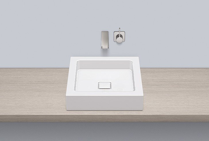 Sit-on basin from glazed steel AB.Q450.1 by Alape