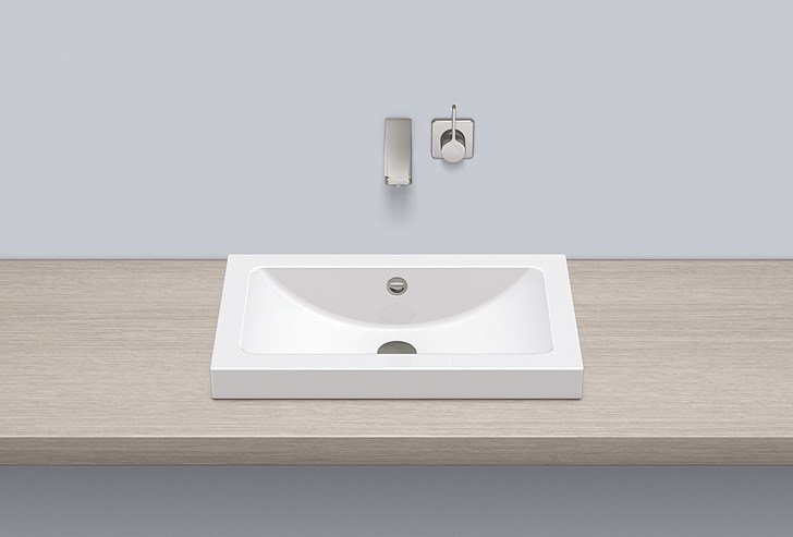 Sit-on basin from glazed steel AB.R585.1 by Alape