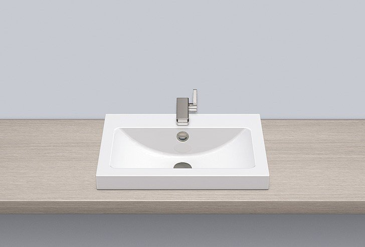 Sit-on basin from glazed steel AB.R585H.1 by Alape