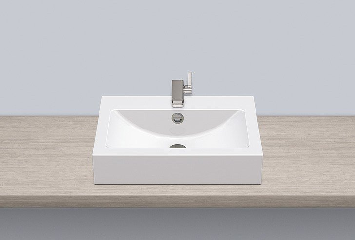 Sit-on basin from glazed steel AB.R585H.2 by Alape