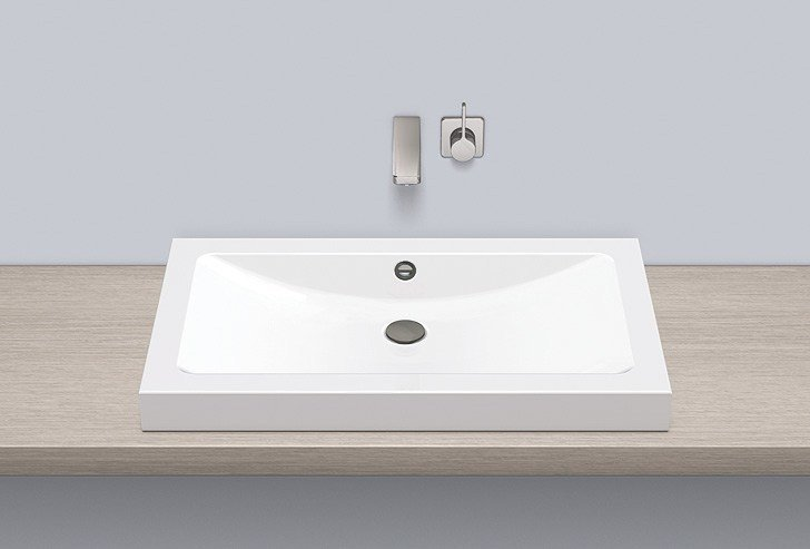 Sit-on basin from glazed steel AB.R800 by Alape