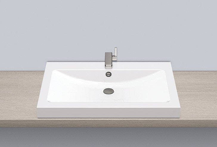 Sit-on basin from glazed steel AB.R800H by Alape