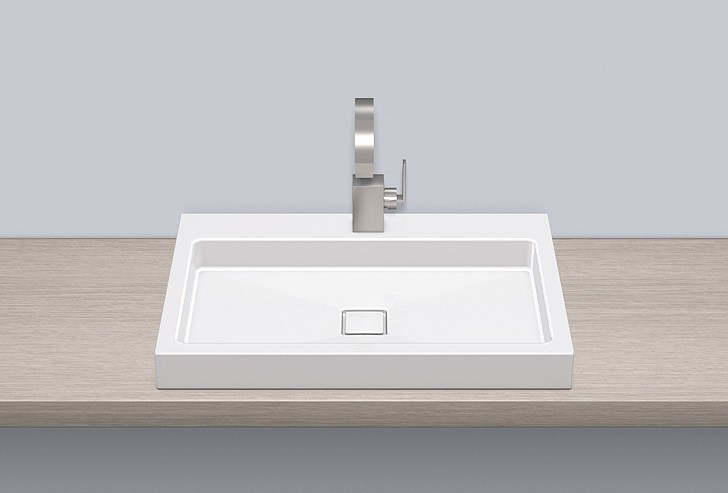 Sit-on basin from glazed steel AB.RE700H.2 by Alape