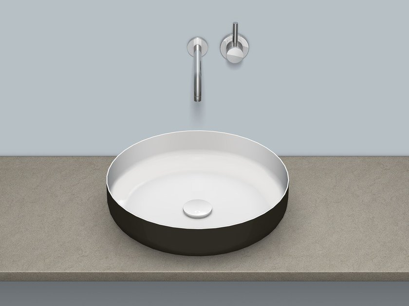 Sit-on basin from glazed steel AB.SO450.1 by Alape