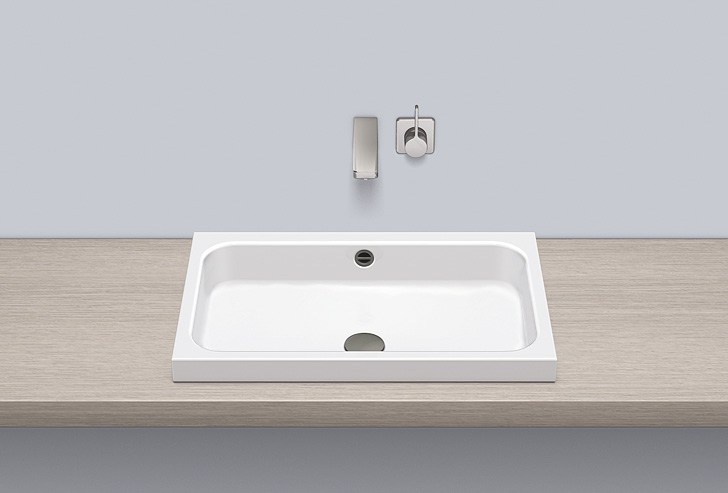 Sit-on basin from glazed steel AB.SR650 by Alape