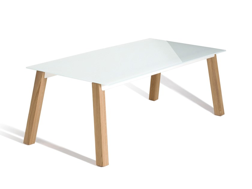 Rectangular wood and glass table ABLE 2724 by Capdell