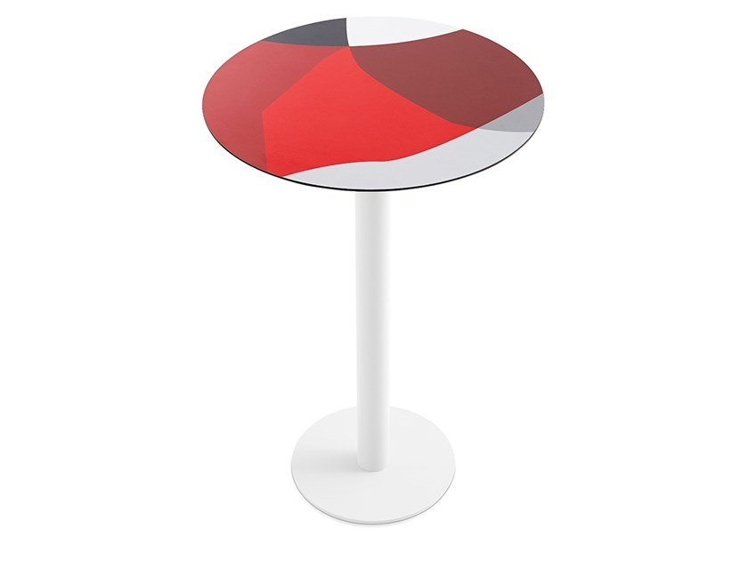 Round laminate high table ABSTRAKT MONA | High table by Diabla