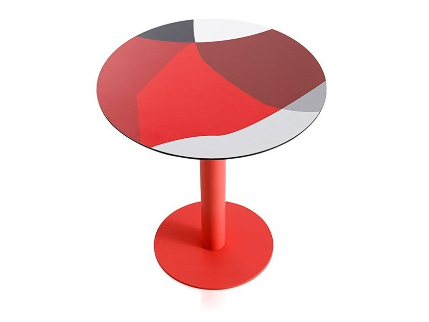 Round laminate table ABSTRAKT MONA | Round table by Diabla