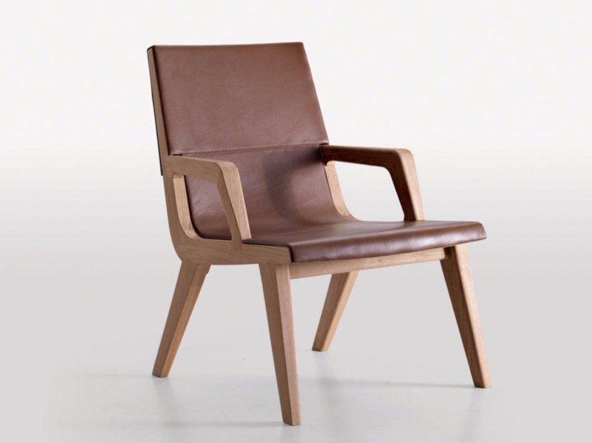Leather armchair with armrests ACANTO | Armchair by Maxalto