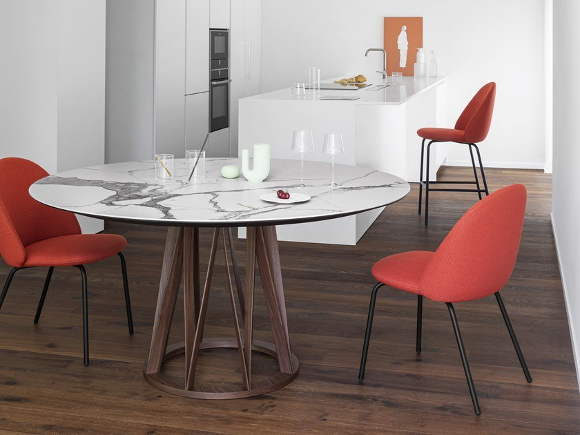 Round ceramic table ACCO | Ceramic table by Miniforms