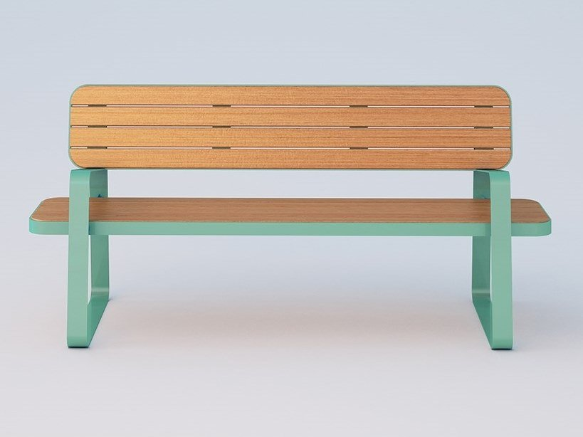 Steel and wood Bench with back ACE   Bench by DIMCAR