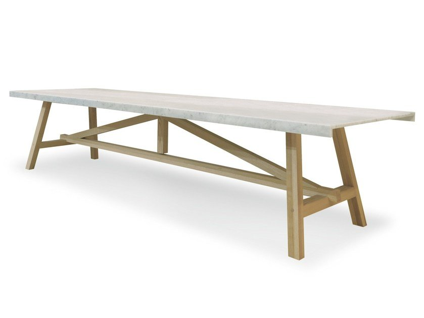 Rectangular Carrara marble dining table ACHILLE by Cizeta L'Abbate