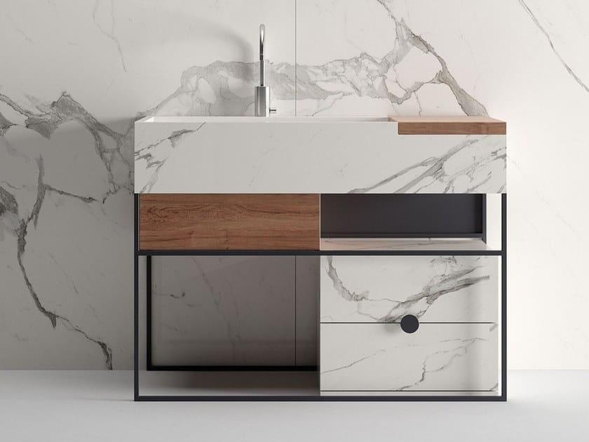 Floor-standing porcelain stoneware vanity unit with drawers ACQUA C by Italgraniti