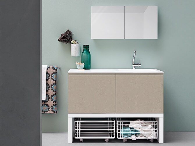 Mobile lavanderia laccato con lavatoio ACQUA E SAPONE COMP. 5 by Birex