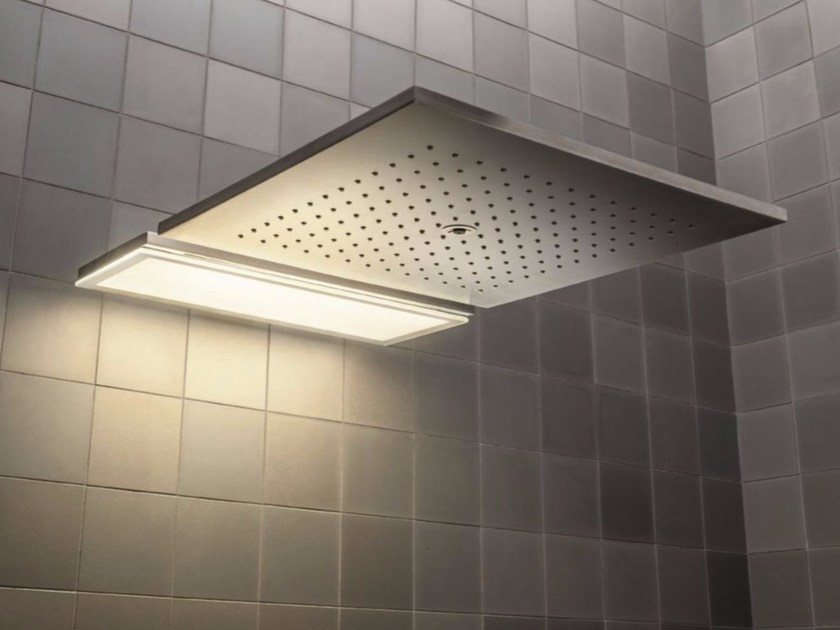 LED wall-mounted overhead shower with arm ACQUADOLCE - L002A - L032B by Fantini Rubinetti