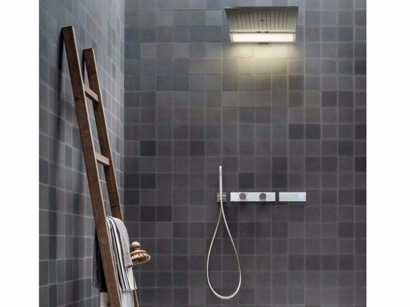 Shower mixer with hand shower with overhead shower ACQUADOLCE | Shower mixer by Fantini Rubinetti