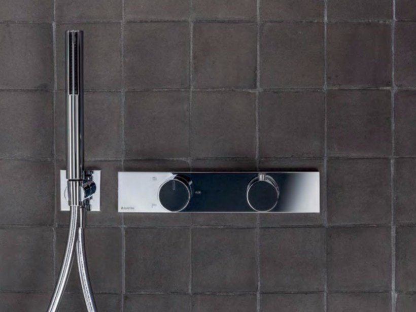 Metal thermostatic shower mixer with hand shower ACQUADOLCE | Thermostatic shower mixer with hand shower by Fantini Rubinetti