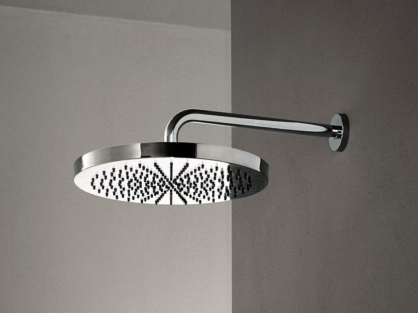 Contemporary style wall-mounted 2-spray stainless steel rain shower ACQUAFIT 38 K073+02 8027 | Round overhead shower by Fantini Rubinetti