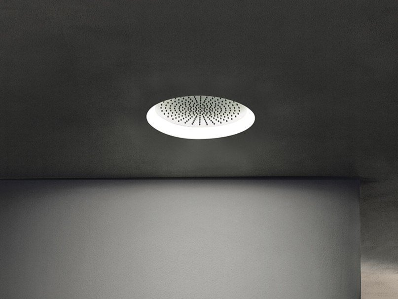 Ceiling mounted round 2-spray stainless steel overhead shower ACQUAFIT 93 K061 | Overhead shower with chromotherapy by Fantini Rubinetti