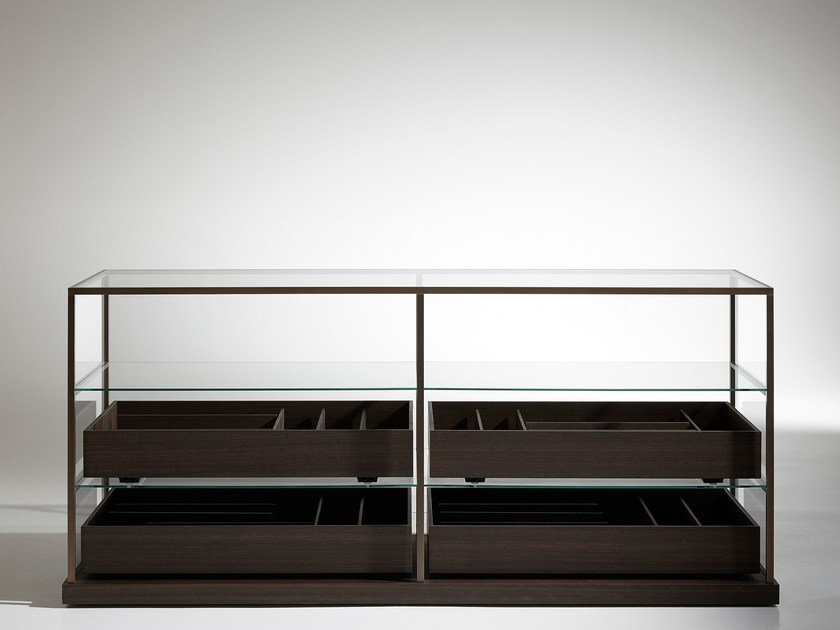 Wood and glass display cabinet ACQUARIO by Porro