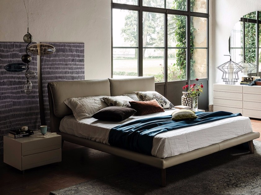 Leather double bed with upholstered headboard ADAM by Cattelan Italia