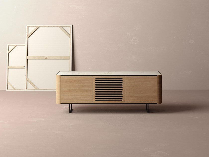 Oak sideboard with slotted doors ADARA | Sideboard by Momocca