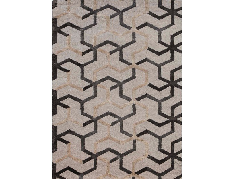 Rug with geometric shapes ADDY TAQ-209 Antique white by Jaipur Rugs