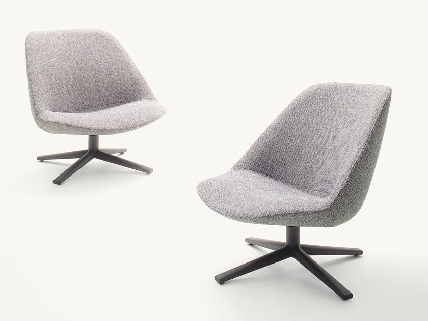Swivel fabric easy chair with 4-spoke base ADELE | Easy chair by paola lenti