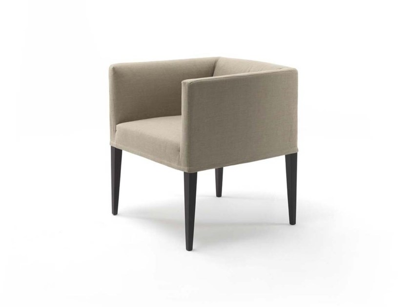 Upholstered fabric easy chair with armrests ADELE by Frigerio Salotti