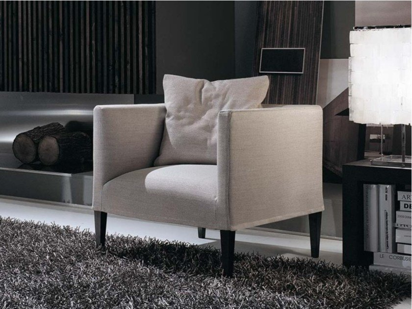 Upholstered fabric armchair with armrests ADELE SOFT | Fabric armchair by Frigerio Salotti