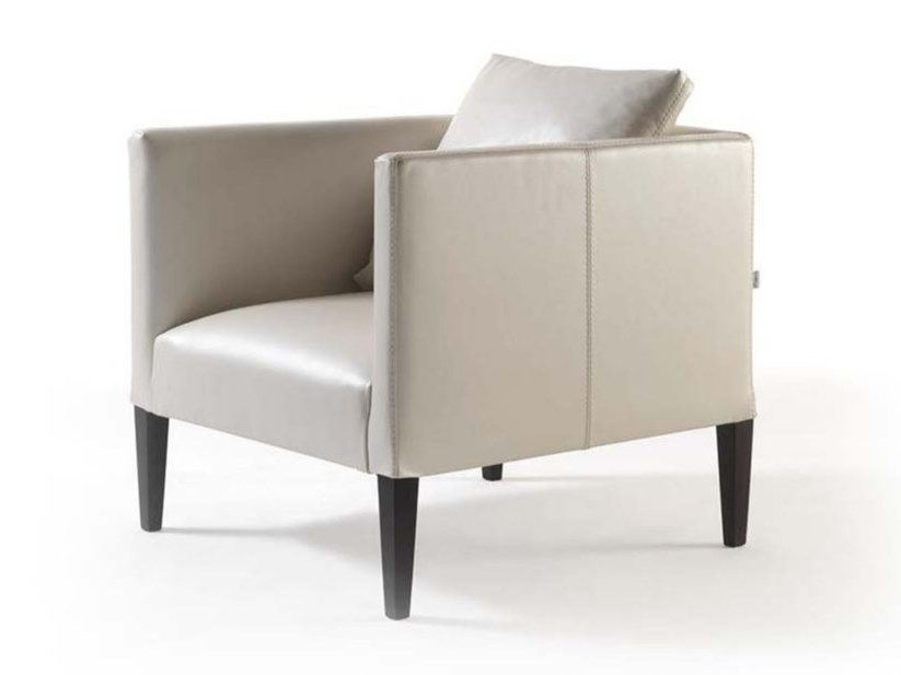 Upholstered leather armchair with armrests ADELE SOFT | Leather armchair by Frigerio Salotti