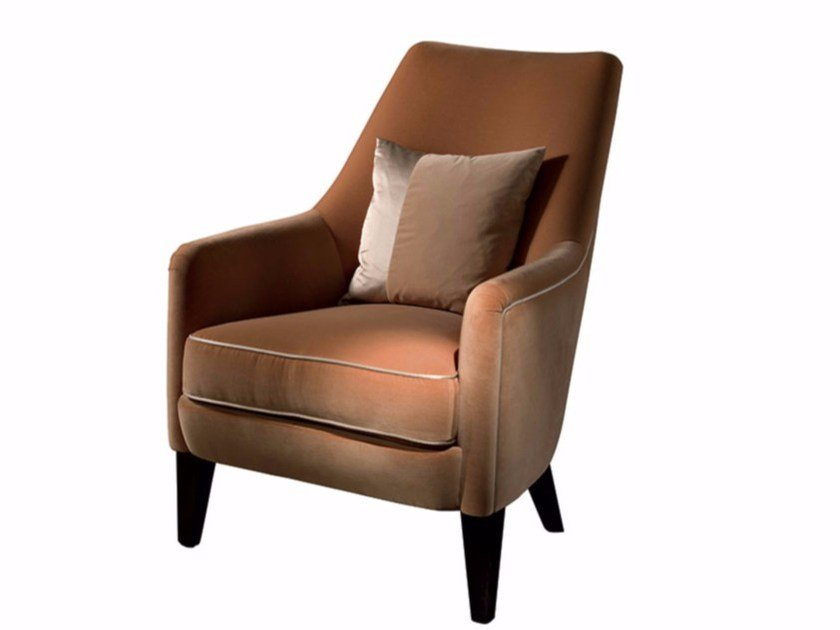 Upholstered fabric armchair ADELE by SOFTHOUSE
