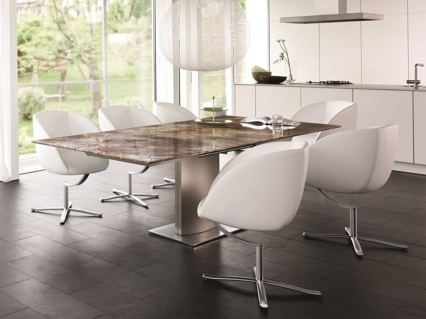 Extending rectangular natural stone dining table ADLER II MAGNUM   Natural  stone table by Draenert
