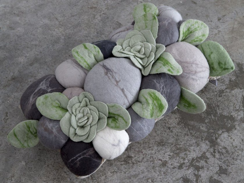 Wool felt cushion AFRICAN SUCCULENT by Ronel Jordaan