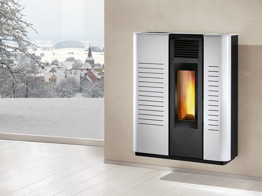 Pellet wall-mounted steel stove AGILA A EVO by CAMINETTI MONTEGRAPPA