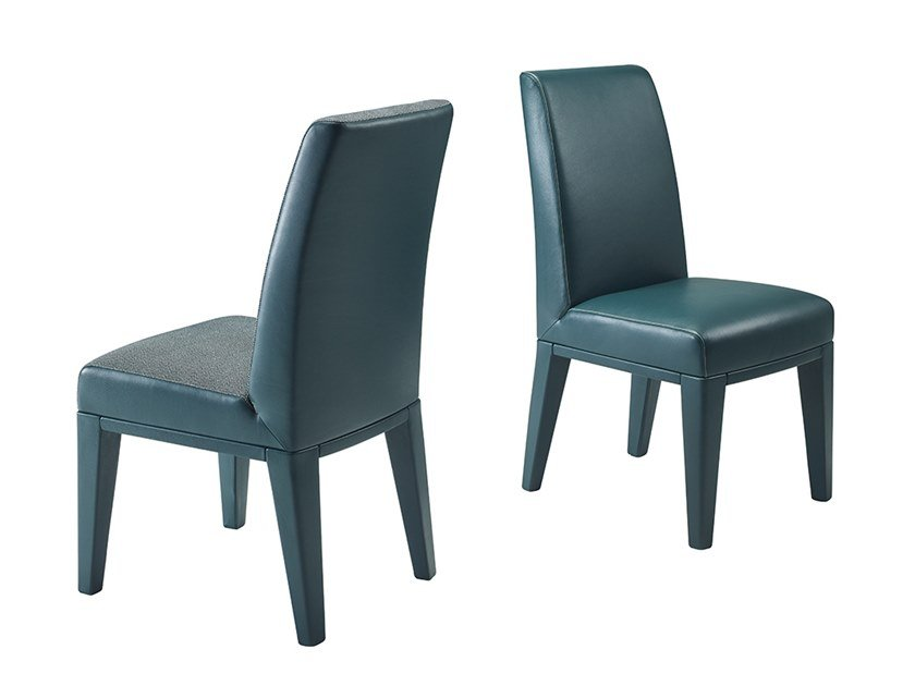 Upholstered leather chair AGNES by Promemoria
