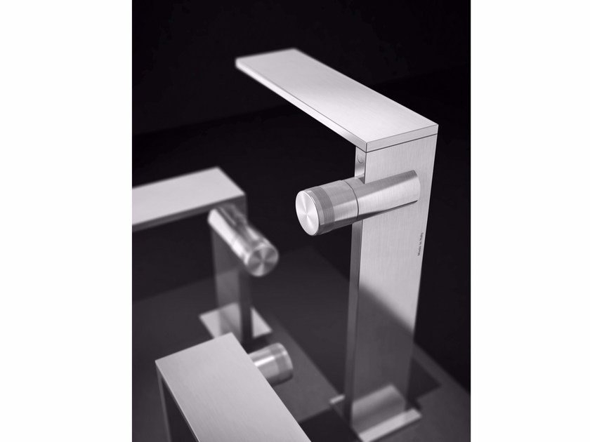 Countertop single handle stainless steel washbasin mixer without waste AIC3 | Washbasin mixer by Radomonte