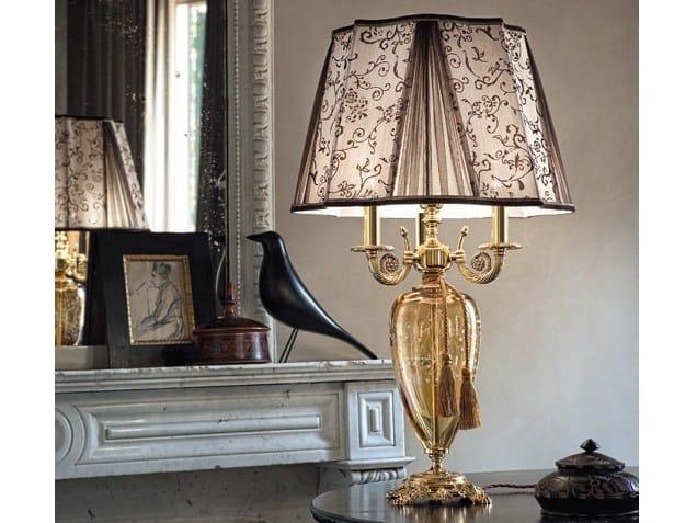 Brass table lamp AIDA LG3+1 by Euroluce Lampadari