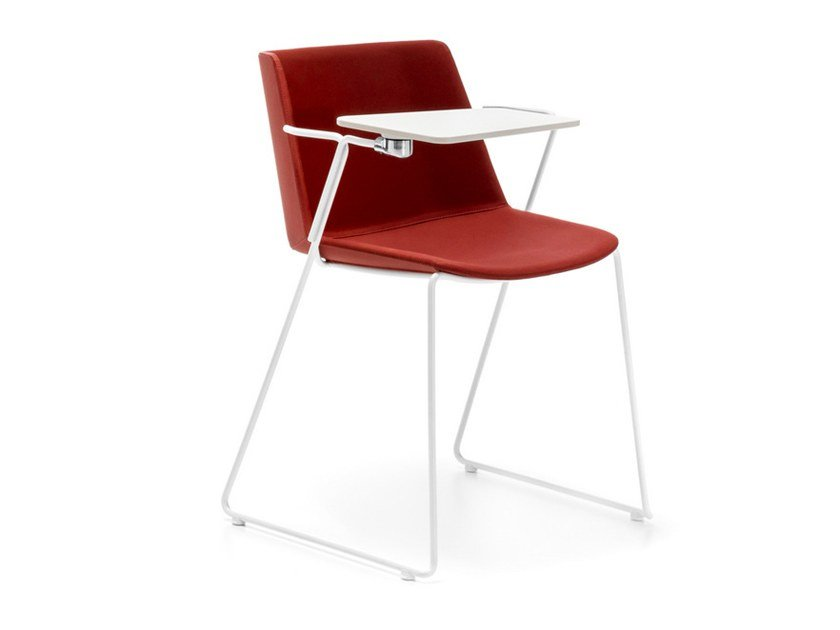 Sled base fabric training chair with writing tablet AÏKU SOFT | Training chair with writing tablet by MDF Italia