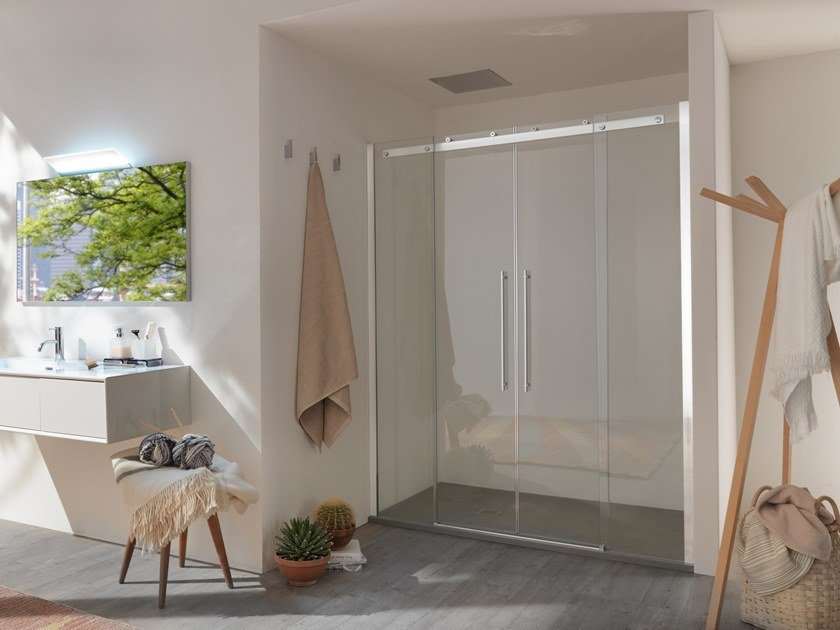 Box doccia a nicchia in vetro con porta scorrevole AIR - 4 by INDA®