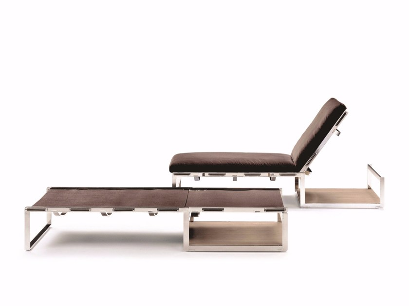 Tanned leather lounge chair AIR by FLEXFORM