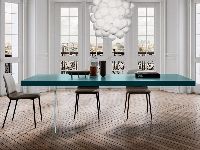 Rectangular wood and glass table AIR LACQUERED | Table by Lago