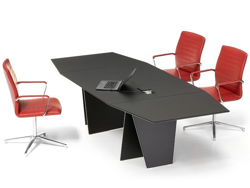 Tanned leather meeting table with cable management AIR | Meeting table by Polflex