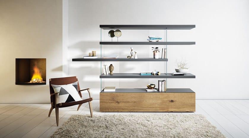 Parete attrezzata autoportante divisoria in legno e vetro for Librerie pareti attrezzate