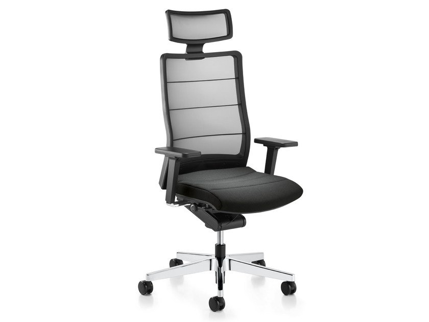 Swivel mesh executive chair with 5-spoke base with headrest AIRPAD 3C72 by Interstuhl