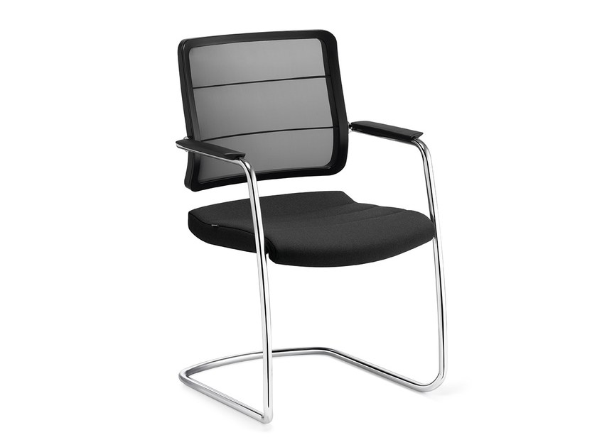 Cantilever stackable mesh reception chair AIRPAD 5C30 by Interstuhl